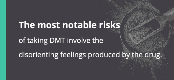 The most notable risks of taking DMT involve the disorienting feelings produced by the drug.
