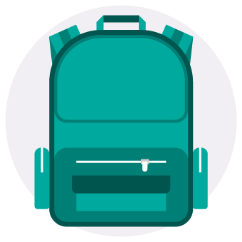 Student backpack icon
