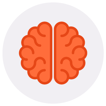 orange brain circle icon