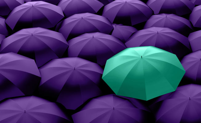 group of purple umbrellas with one teal umbrella in the middle
