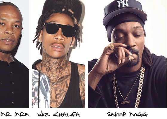 Collage of Dr. Dre, Wiz Khalifa and Snoop Dogg