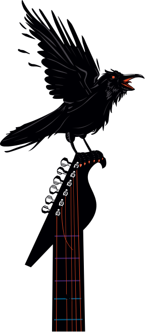 Crow with flapping wings on a guitar handle graphic
