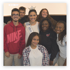 Miss Florida Courtney Sexton talks to high school students about drug abuse