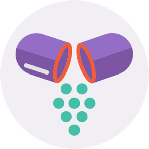 Broken prescription pill capsule icon