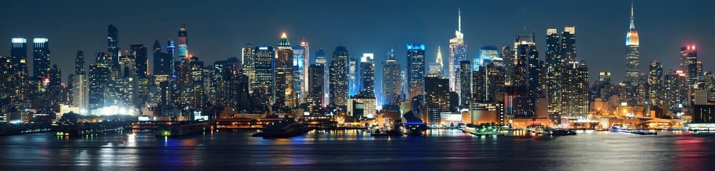 View of New York City buildings at night