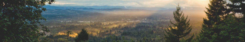 Portland city with mountain range view