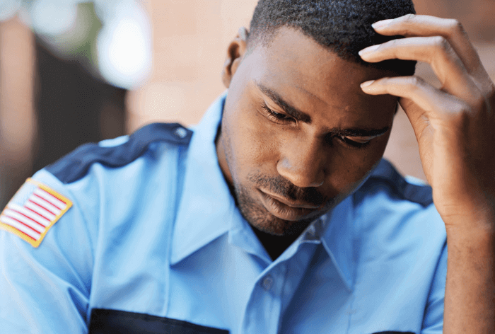 Policeman with post traumatic stress disorder
