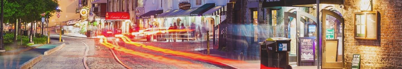 Long shutter speed photo of a street in Savannah.