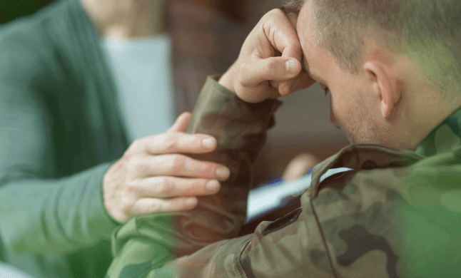 Veteran man in counseling for PTSD and substance abuse