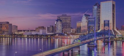 Jacksonville city skyline at sunset