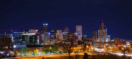 Denver city skyline at night