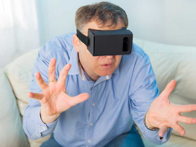 Patient wearing VR headset