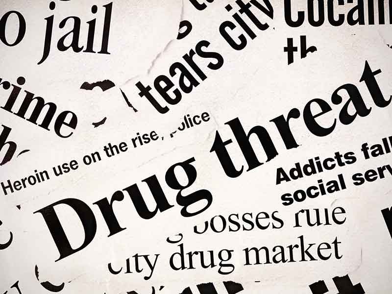Many newspaper headlines concerned with the drug problem