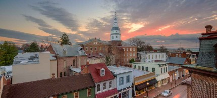 Annapolis, Maryland downtown at sunset
