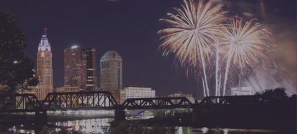 Columbus, Ohio downtown city skyline with fireworks