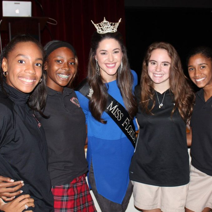 Courtney Sexton, Miss Florida, with high school students