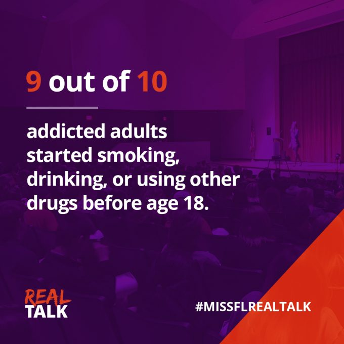 9 out of 10 addicted adults started abusing substances before age 18 graphic