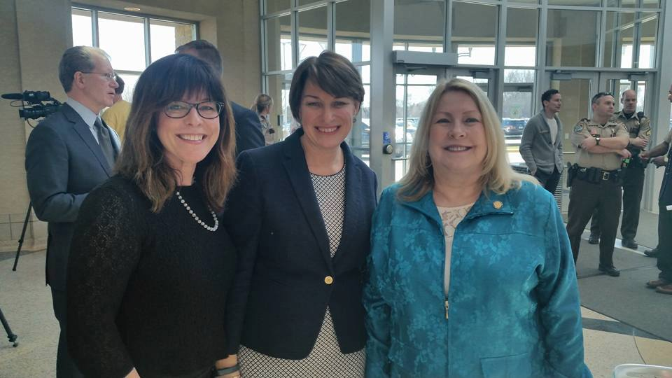 Lexi Reed Holtum with Amy Klobuchar and Christine Eaton
