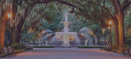 Savannah, Georgia Forsyth Park fountain with tree canopy